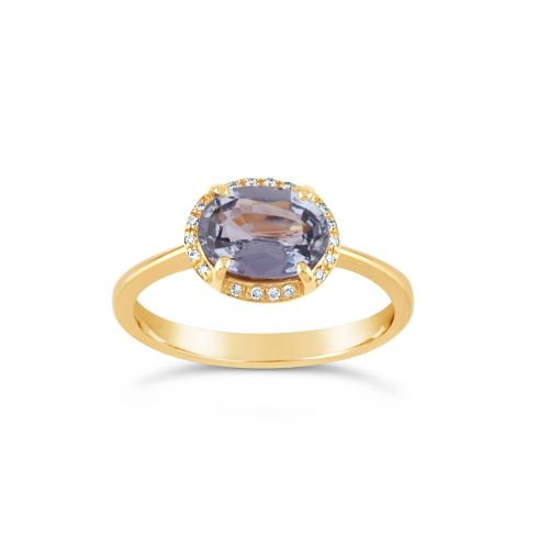 Dinny Hall Mia 18k Gold Fine Lavender Sapphire and Brilliant Cut Diamond Ring