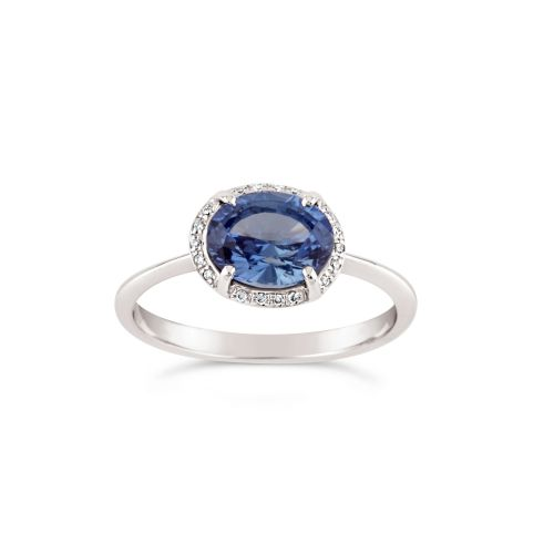 Mia 18k Gold Blue Sapphire and Brilliant Cut Diamond Ring