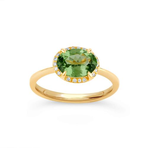 Mia 18K Gold Fine Green Tsavorite and Brilliant Cut Diamond Ring