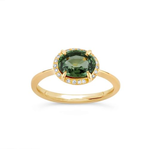 Mia 18K Gold Fine Green Sapphire and Brilliant Cut Diamond Ring