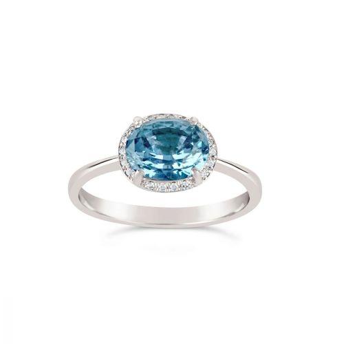 Mia 18K Gold Fine Aquamarine and Brilliant Cut Diamond Ring