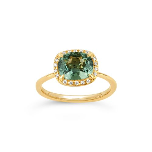 Sheba Cushion 18k Gold Fine Green Sapphire and Brilliant Cut Diamond Ring