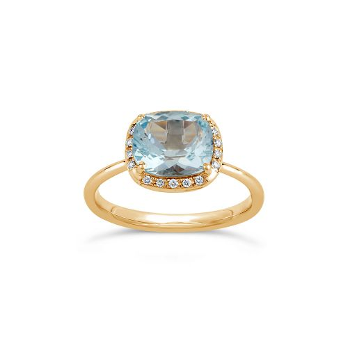 Sheba Cushion 18k Gold Fine Aquamarine and Brilliant Cut Diamond Ring