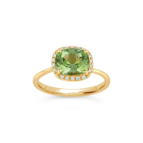 Sheba Cushion 18k Gold Fine Green Tourmaline and Brilliant Cut Diamond Ring