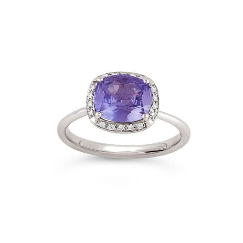 Dinny Hall Solid 18K White Gold Purple Sapphire Engagement Ring