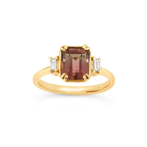 Mini Mae West 18k Gold Fine Bi-Colour Tourmaline and Baguette Cut Diamond Ring