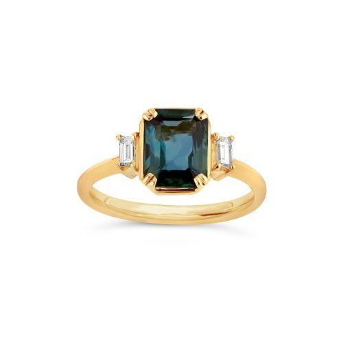 Mini Mae West 18k Gold Fine Teal Sapphire  Ring