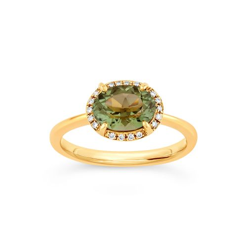 Mia 18k Gold Fine Fern Green Tourmaline and Brilliant Cut Diamond Ring