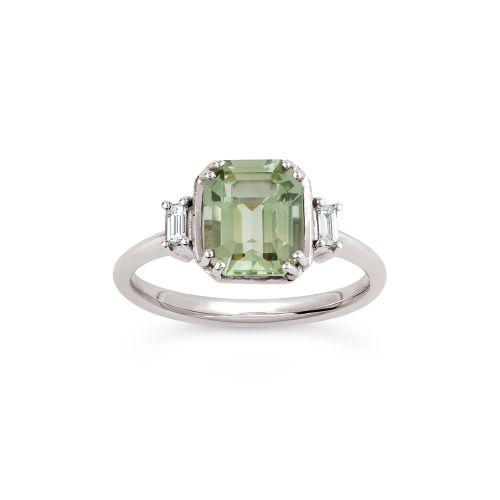 Mini Mae West 18k Gold Fine Pale Green Beryl and Baguette Cut Diamond Ring