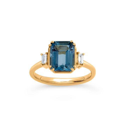 Mini Mae West 18k Gold Aquamarine and Baguette Cut Diamond Ring