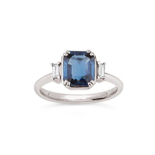Mini Mae West 18k Gold Fine Blue Sapphire and Baguette Cut Diamond Ring