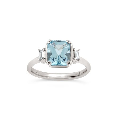 Mini Mae West 18K Gold Fine Aquamarine and Baguette Cut Diamond Ring