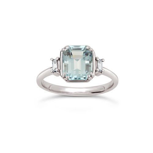 Mini Mae West 18k Gold Fine Aqua Beryl and Baguette Cut Diamond Ring