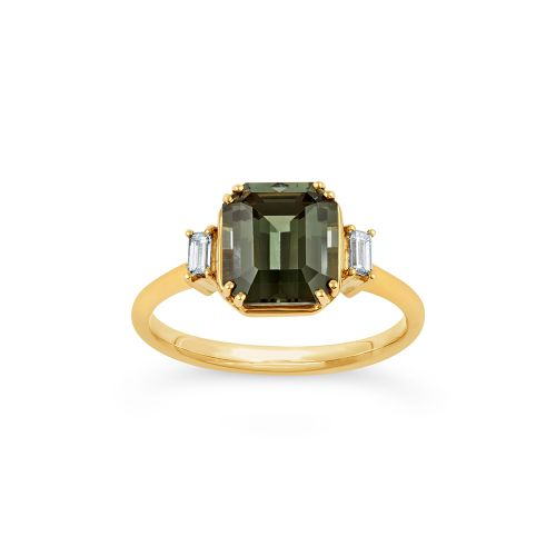 Mini Mae West 18k Gold Fine Green Tourmaline and Baguette Cut Diamond Ring