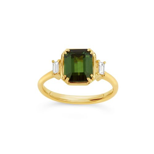 Mini Mae West 18k Gold Fine Green Tourmaline  Ring