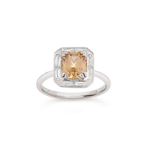 Heni 18k Gold Fine yellow Sapphire and Baguette Cut Diamond Ring