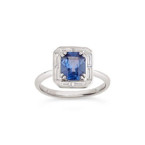 Heni 18k Gold Fine Blue Sapphire and Baguette Cut Diamond Ring