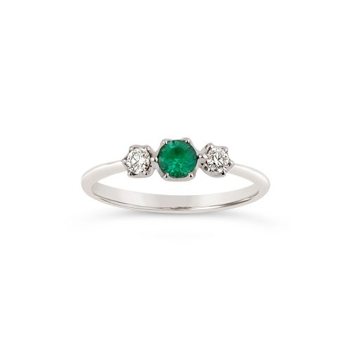Elyhara 18k Small Trilogy Fine Emerald And Brilliant cut Diamond Ring
