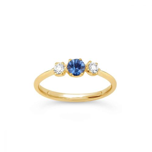 Elyhara 18k Small Trilogy Fine Blue Sapphire and Brilliant Cut Diamond Ring