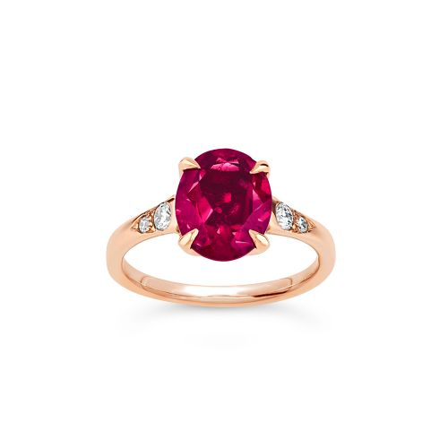 Aleese 18k Gold Rubellite Tourmaline and Brilliant Cut Diamond Ring