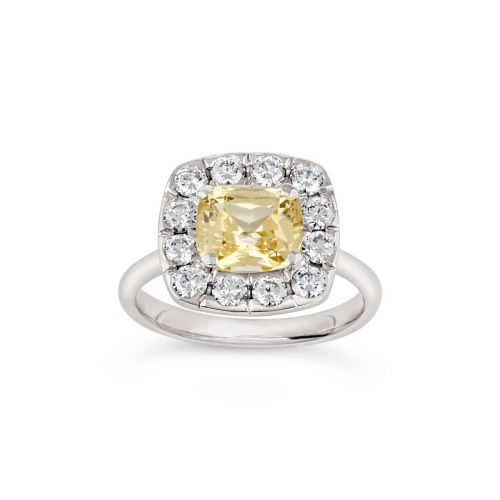 Jolanda 18k Gold Fine Yellow Sapphire and Brilliant Cut Diamond Ring