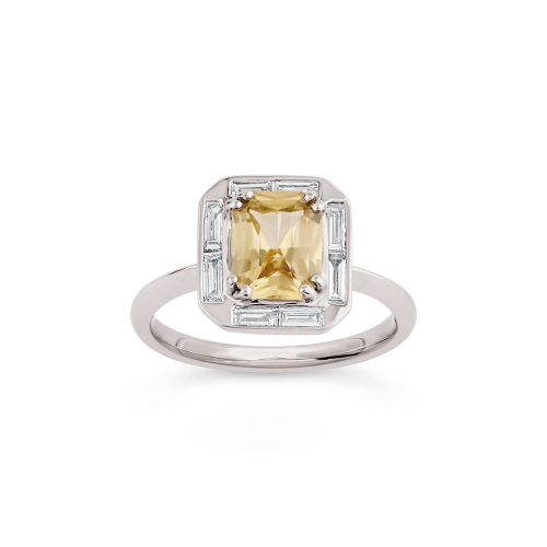 Heni 18k Gold Fine Lemon Sapphire and Baguette Cut Diamond Ring