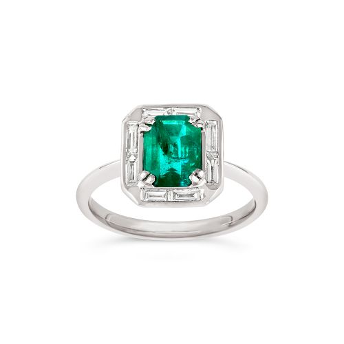 Heni 18k Gold Fine Emerald and Baguette Cut Diamond Ring