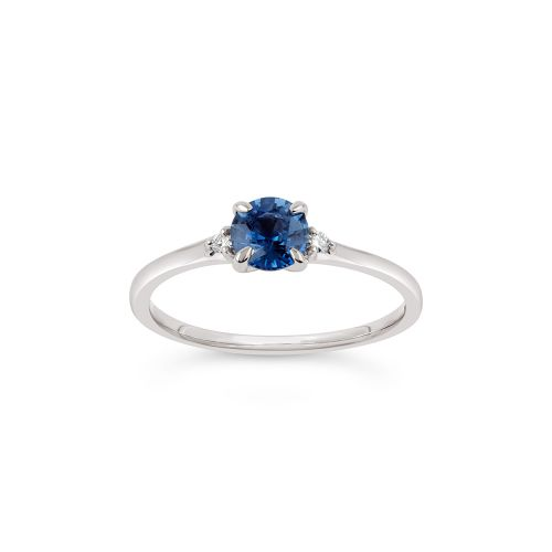 Kassia 18k Gold Fine Cornflower Blue Sapphire and Brilliant Cut Diamond Ring