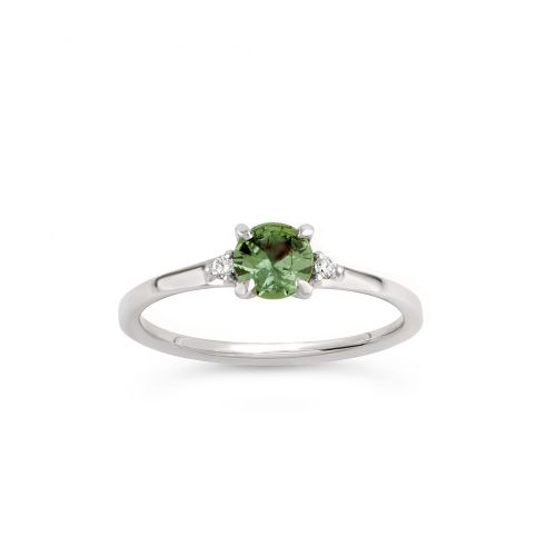 Kassia 18k Gold Fine Green Sapphire and Brilliant Cut Diamond Ring
