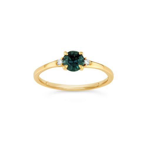 Kassia 18k Gold Fine Deep Teal Sapphire and Brilliant Cut Diamond Ring