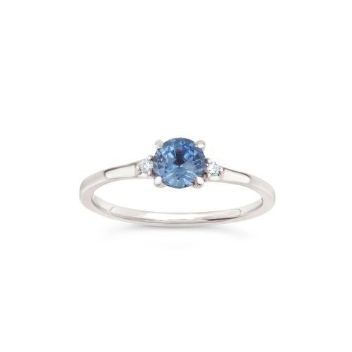 Kassia 18k Gold Fine Cornflower Blue Sapphire and Brilliant Cut Diamond Ring
