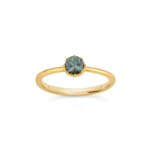 Ellie 18k Gold Solitaire Fine Pine Green Sapphire Ring