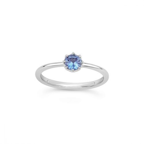 Ellie 18k Gold Solitaire Fine Blue Montana Sapphire Ring