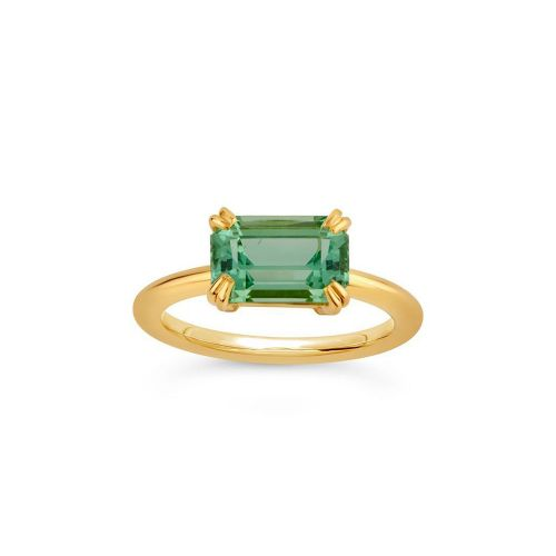 Hollie 18k Gold Fine Chrome Green Tourmaline Ring