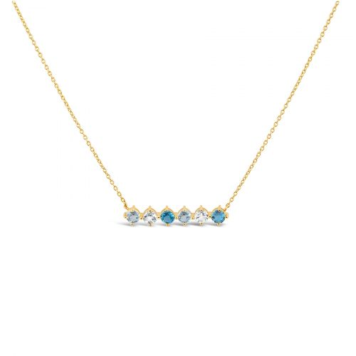 Blue Topaz Bar Necklace in Gold Plate