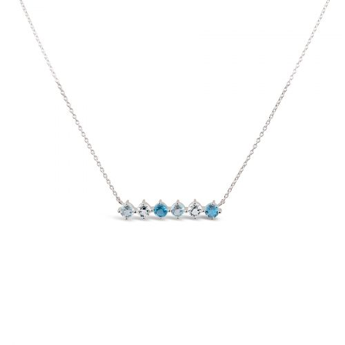 Sterling Silver Topaz Necklace in Blue and White