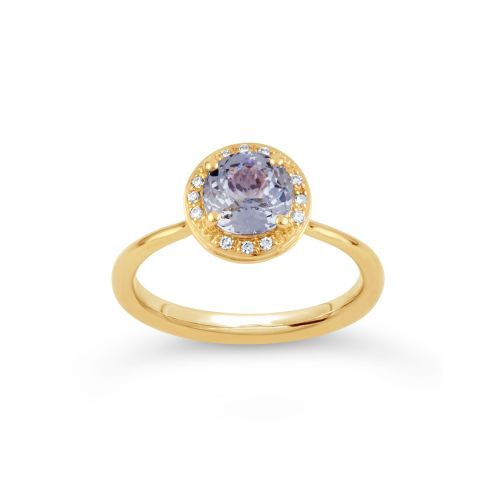 Sheba Round 18k Gold Fine Cornflower Blue Sapphire and Brilliant Cut Diamond Ring