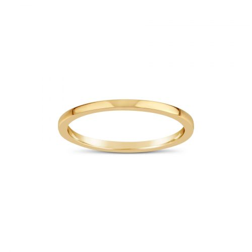 18K GOLD FINE SKINNY FLAT WEDDING BAND